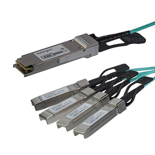 STARTECH.COM QSFP4X10AO15 QSFP4X10AO15 Cavo QSFP+ a 4X SFP+ da 15 m, Compatibile con Cisco QSFP-4X10G-AOC10M, Cavo Ottico QSFP+ 40G a 4X SFP+ 10G, ()