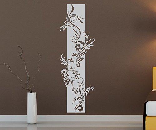 Wandtattoo Banner Blumen Ranke Blätter Floral Deko Streifen Blüten Flur Wandaufkleber Wohnzimmer Wand Aufkleber 1U193, Farbe:Weiß Matt;Höhe Banner:120cm