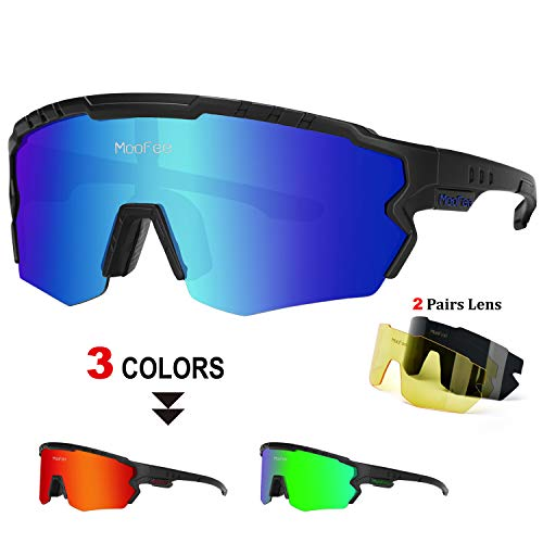 MooFee Polarized Sports Sunglasses with 3 Interchangeable Lenses,Mens Womens Cycling Glasses,Bike Glasses Bicycle Sunglasses for Driving Cycling Running Fishing(Black Blue)