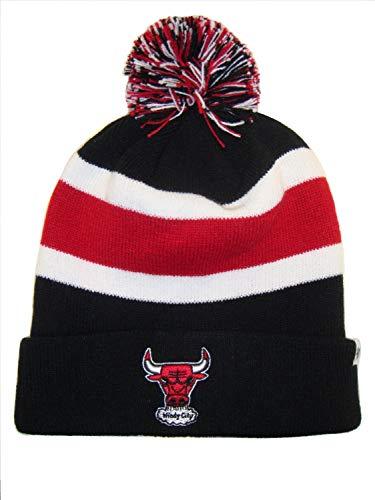 '47 Chicago Bulls Windy City Black Breakaway Beanie Hat with Pom - NBA Cuffed Winter Knit Toque Cap