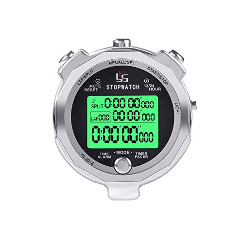 Rolilink Stopwatch,Metal Stop Watch for Sports with Backlight 100 Laps Memory Waterproof Stopwatches Timer for Sports and Competitions