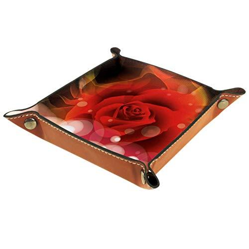 YATELI Caja de Almacenamiento pequeña, Bandeja de Valet para Hombre,Rosas de fantasía,Organizador de Cuero para Llaves de Caja de Monedas