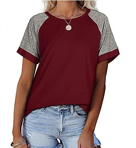 Camiseta De Manga Corta con Cuello Redondo Holgado Informal De Verano para Mujer