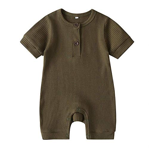 iddolaka Unisex Newborn Baby Boy Girl Short Sleeve Button Romper Jumpsuit One-Piece Outfits Solid Color Clothes (Green, 9-12Months)