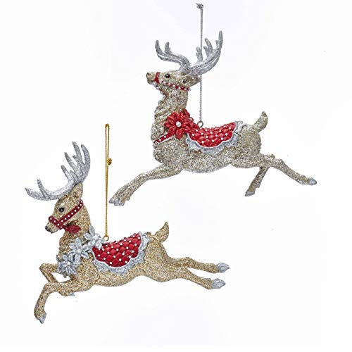 Kurt Adler Ruby Red and Platinum Flying Reindeer Christmas Holiday Ornaments Set of 2