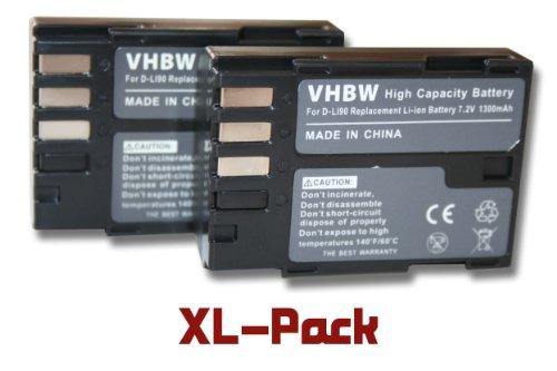 vhbw 2X Akku Ersatz für Pentax D-Li90 für Kamera Digicam DSLR (1300mAh, 7,2V, Li-Ion)