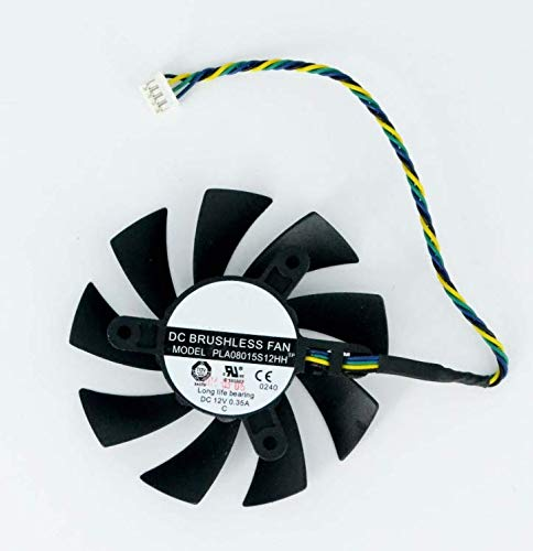 E-Meoly Power Logic PLA08015S12HH DC - Ventilador para tarjeta gráfica (12 V, 0,35 A, 75 mm, 42 x 42 x 42 mm, ventilador de refrigeración de 4 pines)