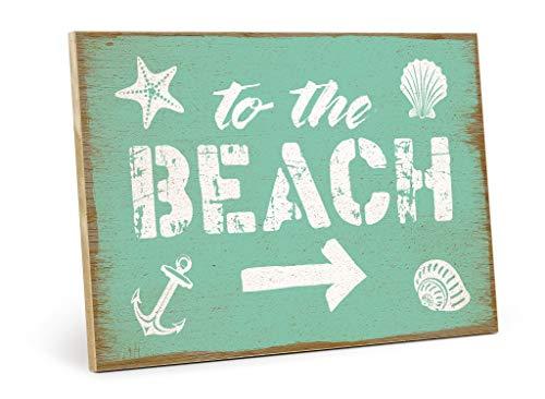 TypeStoff Holzschild mit Spruch – to The Beach – Grafik-Bild bunt, Schild, Wandschild, Türschild, Holztafel, Holzbild als Geschenk und Dekoration (19,5 x 28,2 cm)