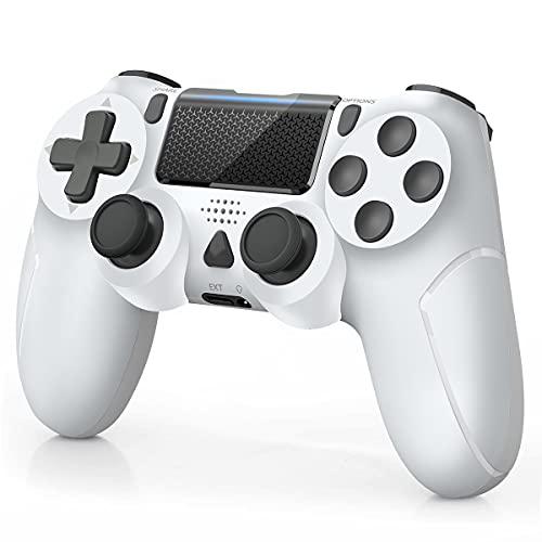 Manette pour PS4 sans Fil Gamepad pour PS4/ PS4 Slim/ PS4 Pro Console avec Double Vibration Moteur, Blanche