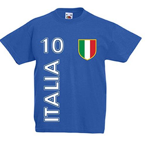L'Arcobaleno di Luci - T-Shirt Bambino Bambina Italia con Nome E Numero Calcio Maglietta, Colore: Blu Royal, Taglia: 5-6 Anni