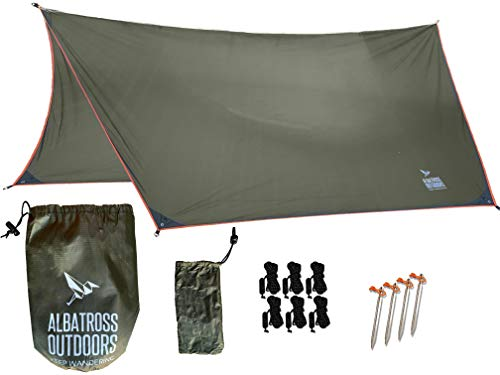 Albatross Outdoors XL 12'x10' Hammock Waterproof Rain Fly - Quality Waterproof Ripstop Nylon Tarp - Highly Versatile Great for Hammocks, Tents, Lean-to - Stakes, Guy Lines, and Stuff Sack Included