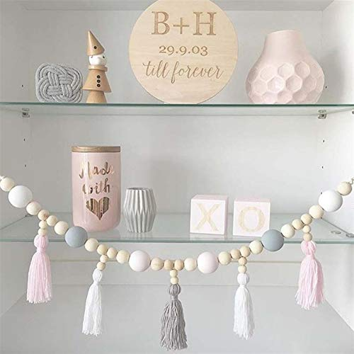 Decorative Ornaments,hanging ornaments Kid Baby Room Yarn and Bead Garland Hanging with Tassel Nursery Pearl Decor Props Giving Tent Ornament For Kids Room Gift