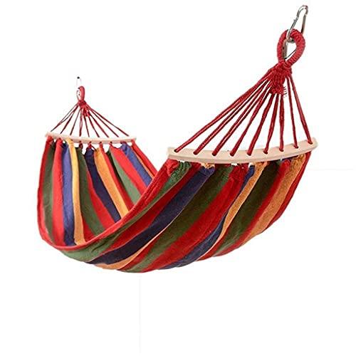 WHL Hamacas Silla de Hamaca portátil Camping Garden Suela Individual Silla de Swing Hamacas de Familia al Aire Libre Muebles y Accesorios de Patio (Color : Red, tamaño : 200 x 100cm)