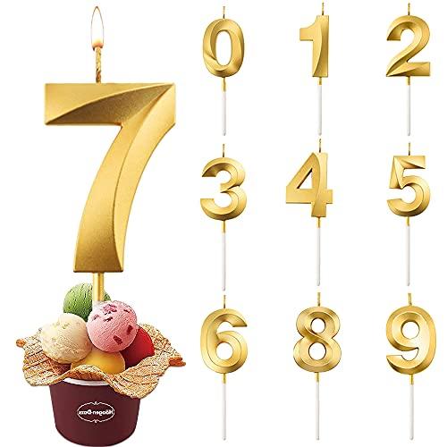 Candele di Compleanno Numbero, Candele di Compleanno Oro Glitter, Candele Torta,Adatto A Feste di Compleanno, Feste di Anniversario di Matrimonio, Serate di Laurea (7)