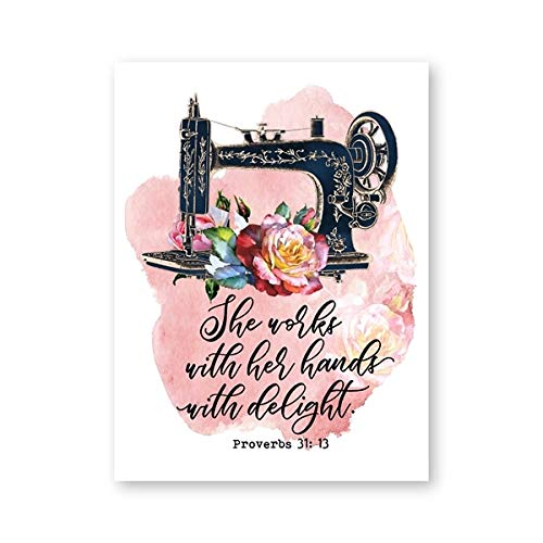 Máquina de coser vintage Proverbios Citas Carteles e impresiones Acuarela Flores Lienzo Pintura Mamá Regalos Inicio Arte de la pared Decoración 40X60 CM SIN marco