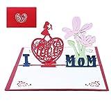 Hanbee día de la Madre tarjeta,Tarjeta de cumpleaños para mamá especial, Tarjeta de felicitación pop-up 3D con hermoso papel cortado, regalo para el cumpleaños de mamá, sobre incluido