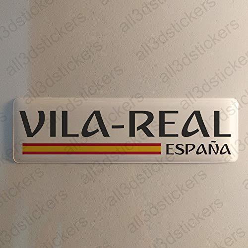 Pegatina Vila-Real España Resina, Pegatina Relieve 3D Bandera Vila-Real España 120x30mm Adhesivo Vinilo