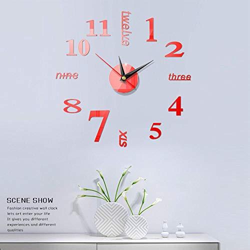 NXSP Moderne wandklok groot voor knutselen, 3D-nummers, Engelse Romeinse cijfers, acrylspiegel, decoratie voor thuis, kunst