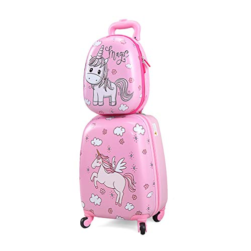 2 Pc Rolling Kids Carry On Luggage Set, 12' Backpack & 16' Suitcase, Cute Cartoon Pattern Travel Trolley Suitcase with Wheels, Hardshell Kids Suitcase for Traveling Boys and Girls, Toddler, Children