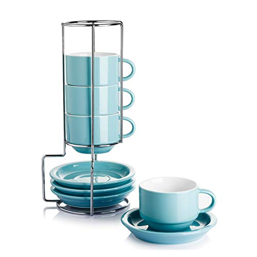 Sweese 404.402 Porcelain Stackable Espresso Cups with Saucers and Metal Stand - 2.5 Ounce - Set of 4, Turquoise