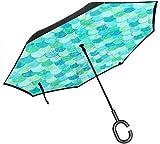 Big Stick Inverted Umbrella Inside Out Regenschirm 2-lagig Faltbarer, winddichter UV-Schutz...