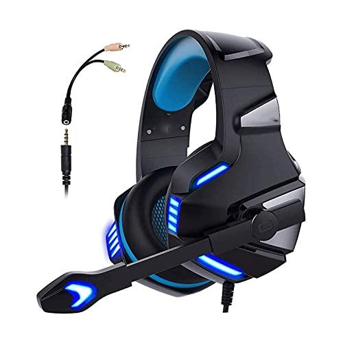 SFLRW Auriculares de juego estéreo para PS4 PC Controlador PS5, cancelación de ruido sobre auriculares con micrófono con micrófono, luz LED, Redondeo, Redondeo, Memoria suave Orejeras para Laptop Mac