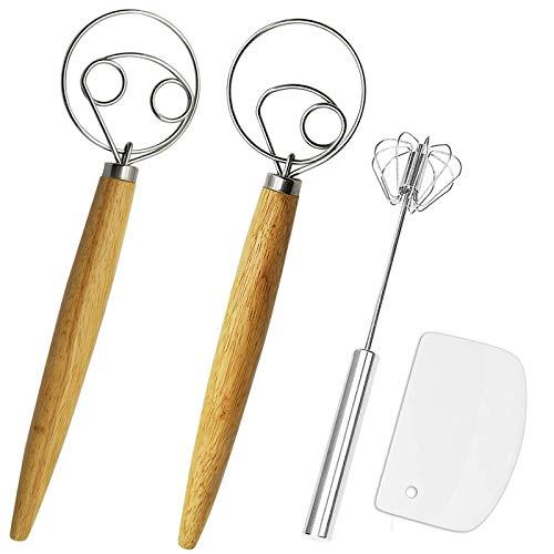 Listenman Danish Dough Whisk Bread Mixer&Egg Whisk Kits, 2 Pack Premium Stainless Steel Dutch Whisk...