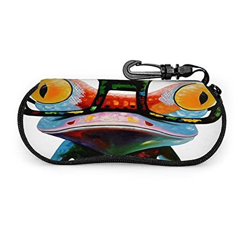 Estuche Protector Unisex para Gafas Hipster Frog , para Gafas Gafas de Sol , Estuche Blando Estuche para Gafas con Cremallera , con Clip para cinturón