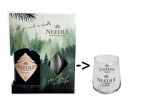 Needle Blackforest Geschenkbox - 1 x Needle Blackforest Dry Gin 0,5L (45% Vol) + Needle Blackforest Glas