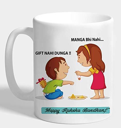 The Purple Tree Rakshabandhan Rakhi Gift Mug for Sister and Brother Mug (330 ml, Pack of 1), Rakhi Gift for Sister Brother, Rakhi Mug, rakshabandhan Gift Mug , Gift for Brother , Gift for Sister