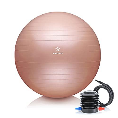 BODYMATE Gymnastikball Sitzball Trainingsball mit GRATIS E-Book inkl. Luft-Pumpe, Ball für Fitness, Yoga, Gymnastik, Core Training, für starken Rücken als Büro-Stuhl New Rose Gold 65cm