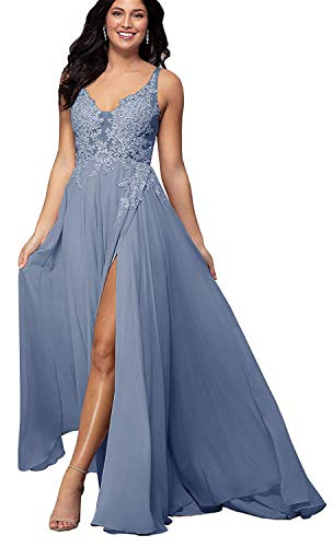 Women's V-Neck Lace Formal Prom Dresses Long A-Line Chiffon Bridesmaid Evening Party Gown with Slit Dusty Blue-14 (Apparel)