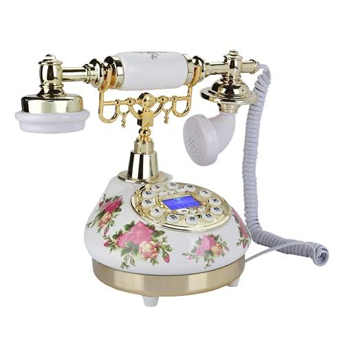 ciciglow Telefono retrò, Telefono di Casa Vintage Vecchio Stile con Quadrante a Pulsante, Arredamento per la Casa Dell'ufficio Alimentato dalla Linea Telefonica FSK/DTMF