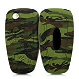 kwmobile Funda Compatible con Llave Plegable de 3 Botones para Coche Ford - Carcasa Protectora Suave de Silicona - Camouflage
