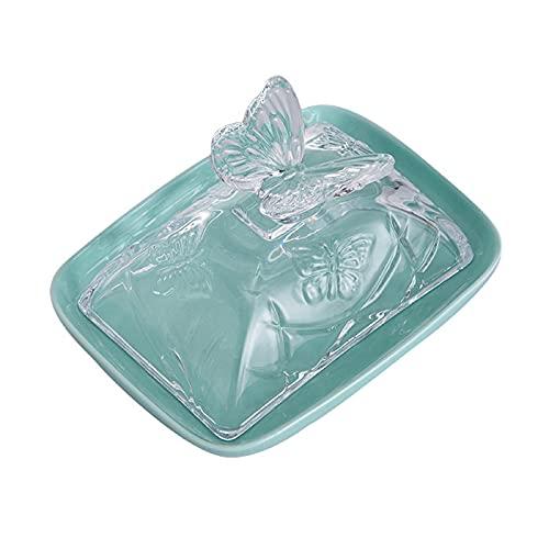 Qwhone Plato De Mantequilla De Porcelana Plato De Mantequilla con Tapa De Vidrio, Grande con Plato De Mantequilla De Cubierta CeráMica Butter Keeper, Plato De Queso Crema De Vidrio Transparente,Verde