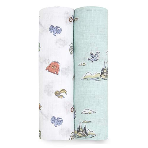 aden + anais Swaddle Blanket, Boutique Muslin Blankets for Girls & Boys, Baby Receiving Swaddles, Ideal Newborn & Infant Swaddling Set, Perfect Shower Gifts, 2 Pack, Hogwarts Essentials
