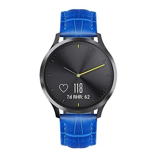 BINLUN Bandas de Reloj compatibles con Garmin Vívoactive 4S / 3 Music/Forerunner 245 645 Music/Vivomove 3 / HR/Luxe Smartwatch Correa de Cuero Genuino Reemplazo 18mm 20mm Pulsera