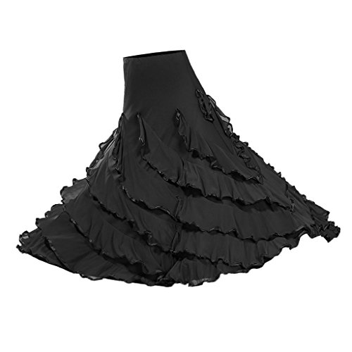 Baoblaze Vestido de Flamenca Ropa de Baile Accesorios de Mujer Falda de Tango - Negro, 920cm