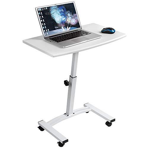 Tatkraft Cheer Scrivania - Tavolino Porta PC su Ruote con Altezza Regolabile 52-84 cm 4 Ruote Piroettanti con Dispositivo di Blocco, Bianco