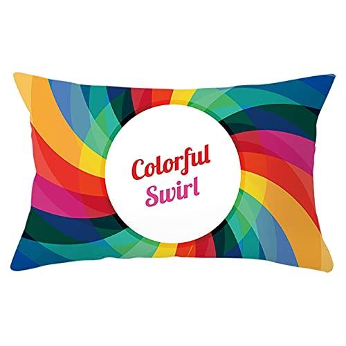 Daesar Federa Cuscino, Federe Cuscini Divano Moderni Colorato Federa Copricuscino 30x50 CM 1 Pezzo Colorful Swirl, Federa Poliestere