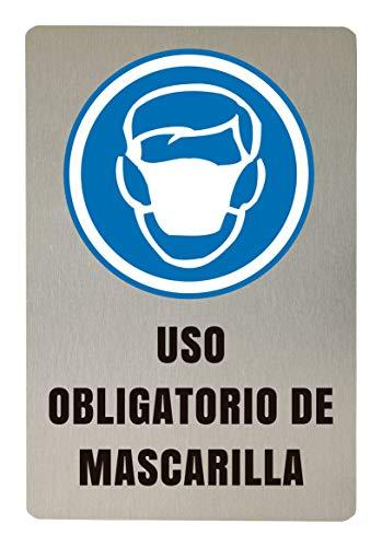 Señalización de Seguridad Elaborada en aluminio inalterable autoadhesivo impreso con tintas UVI (Mascarilla Obligatoria 30x30cm)