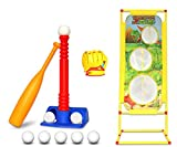 T-Ball Set for Toddlers, Kids, Softball Baseball Toy Batting Tee Ball Game Includes 8 Balls, Bat, Glove, Target to Develop and Improve Batting Skills for Boys and Girls - Children Ages 3-12 Years Old