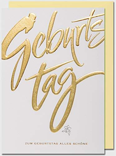 Geburtstagskarte Schrift Gold Kalligraphie