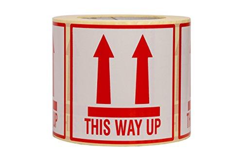Deze Way Up Stickers Grote Grootte 10x10CM Zelfklevende Etiketten met Permanente Hot-Melt Lijm 10x10 Rood