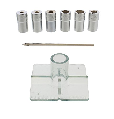 DCT SAE Drill Bit Guide Centering Punch 8-pc Center Drilling Set Kit – 3/16 to 1/2in Bushings, Locating Pin, Guide