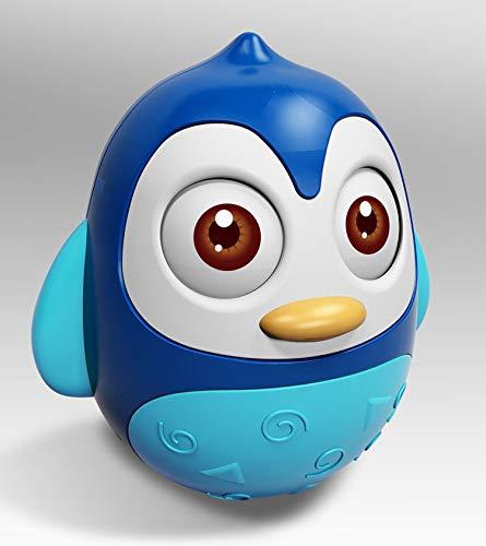 SunshineTec Stehauffigur, Wackelpuppe, Stehaufmännchen, Stehaufpuppe, Baby Spielzeug, Rassel, Geschenk (blau)