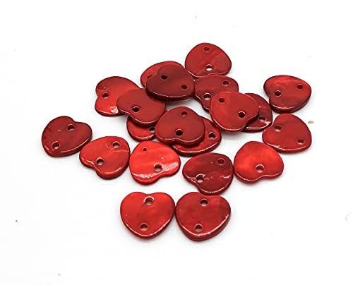 20 botones de nácar rojo con forma de corazón, 12