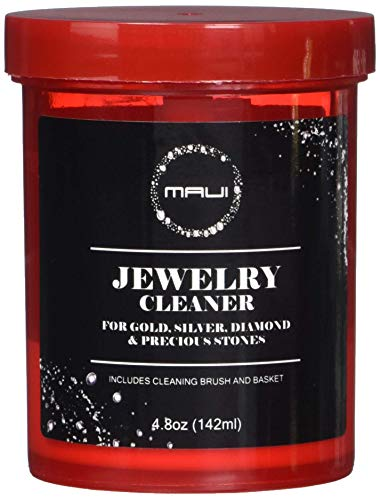 Maui Liquid Jewelry Cleaner Solution for Gold, Silver, Diamond. Safety Solution Comes with Basket and Brush for Extra Cleaning.