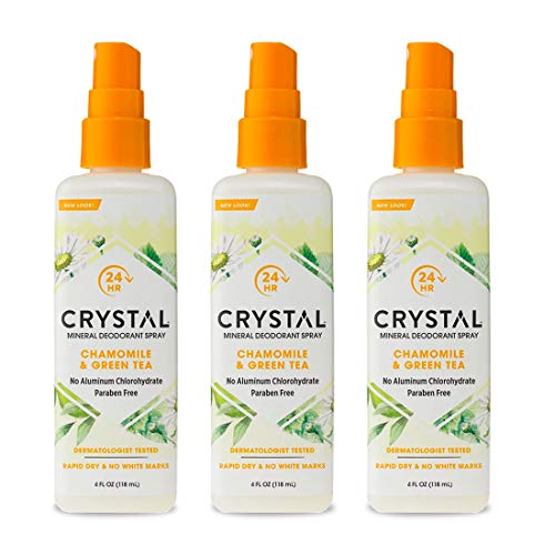 Crystal Essence Mineral Deodorant Spray, Chamomile & Green Tea 4 oz (Pack of 3)