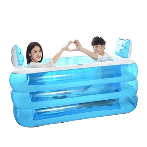 Ménage Pliage Double Baignoire Épaississement Bain Baril Enfants Adulte Personnes Agées Quatre Saisons Disponibles Étanche Antidérapant Antidérapant En Plastique PVC Plastique Bleu